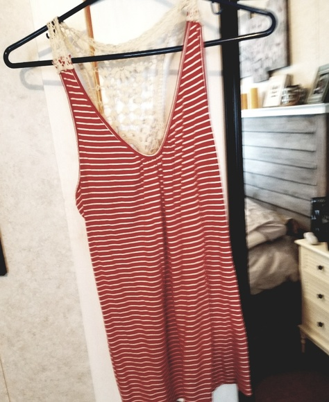 Haani Tops - Striped, laced back tank top